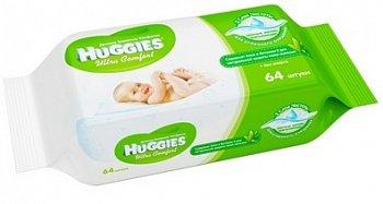 Huggies Ultra Comfort влажные салфетки с алоэ и витамином.Е, 64шт